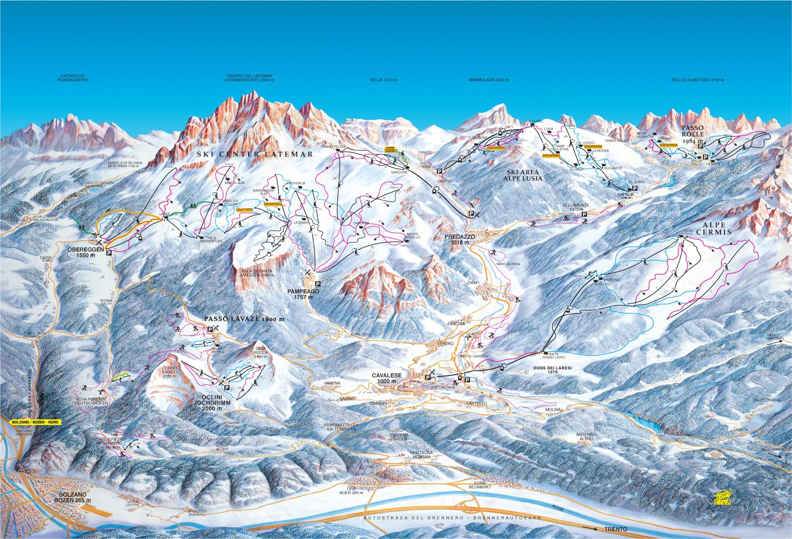 cartina di località e piste da sci in Val di Fiemme