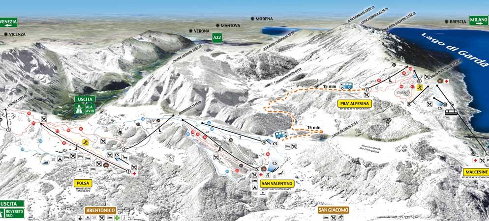 Mappa Piste Brentonico Ski