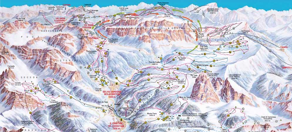 Mappa Piste Val Gardena