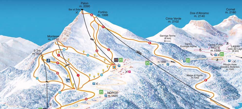 Mappa Piste Monte Bondone