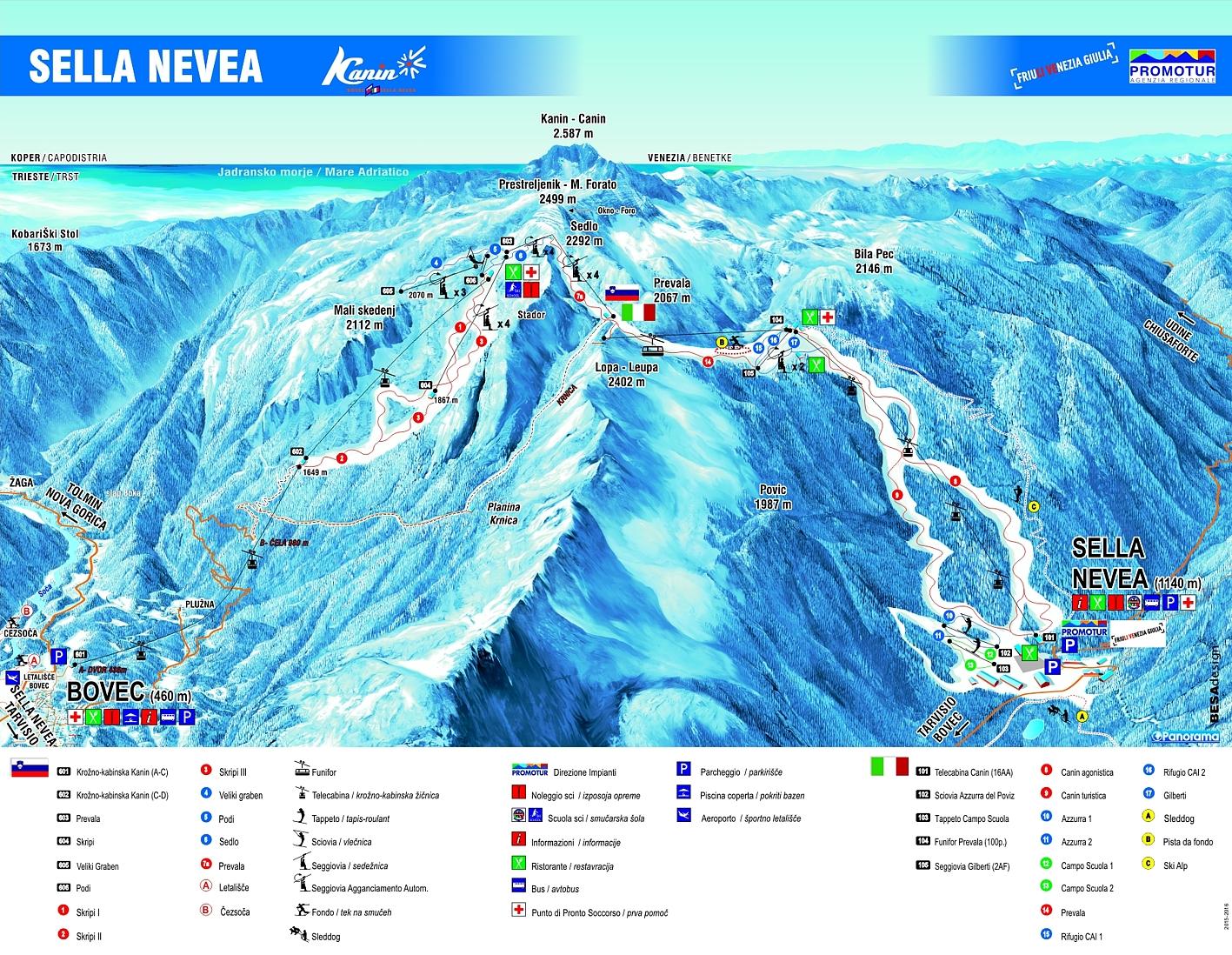 Mappa Piste Sella Nevea